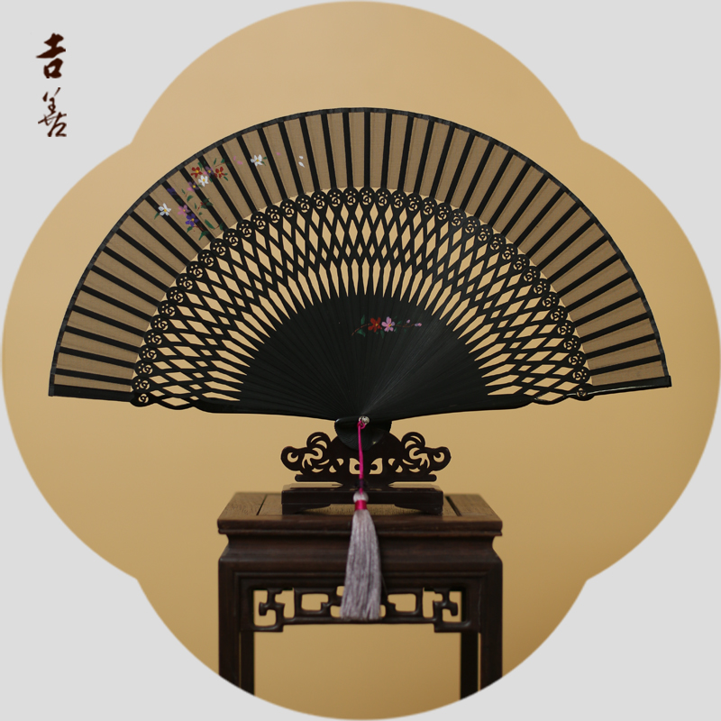 Shin ji painted folding fan female fan 6 inch black women's silk fan silk fan chinese folding fan gift fan zhushan abroad