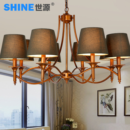 + Shiyuan european pastoral retro american country wrought iron chandelier living room bedroom nordic creative restaurant lights 7371