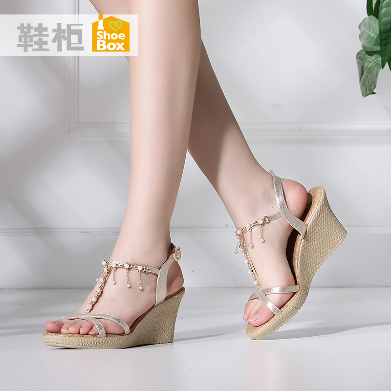 Shoebox shoe 2016 summer new korean fashion pearl tassel elegant high heels wedge sandals shoes