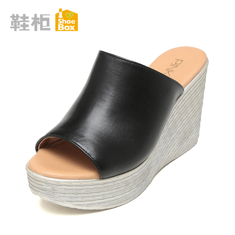 Shoebox shoe korean version of a solid color pu leather super high heels fashion sandals 2016 summer new set foot slope with women slippers
