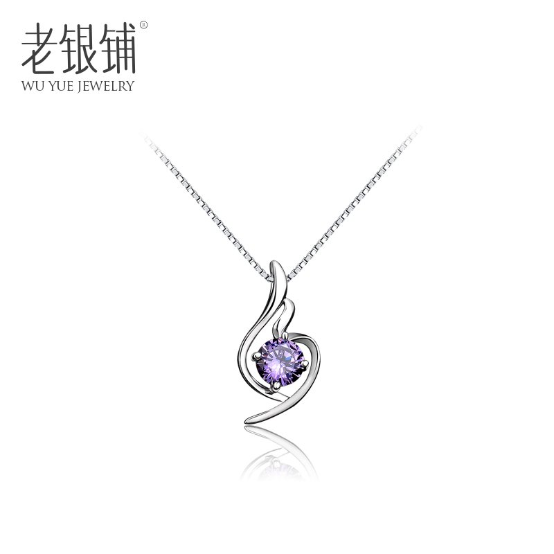 Shop and old silver 925 silver diamond necklace female purple silver necklace female korean fashion silver jewelry valentine's day gift