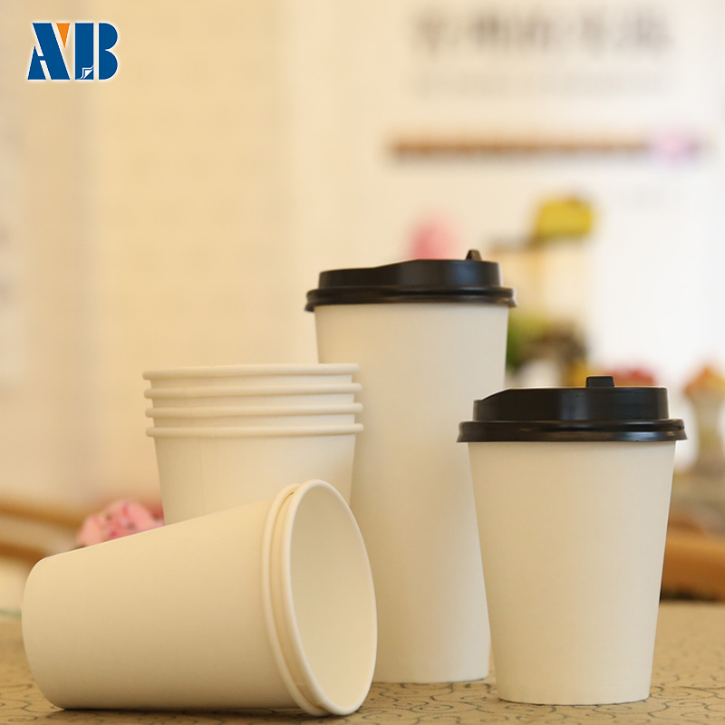 Shore treasure disposable paper cup thickened white cup of tea cups milk cup coffee cup without a lid 100