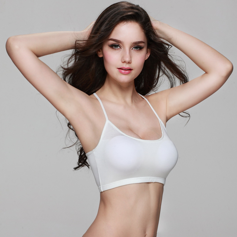Short paragraph female cross back straps wrapped chest halter spaghetti straps bra sports underwear vest with a chest pad summer