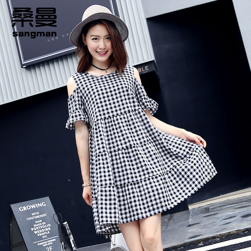 Short sleeve strapless a-line dress 2016 summer new women korean hit color plaid harness dress flower lotus leaf edge