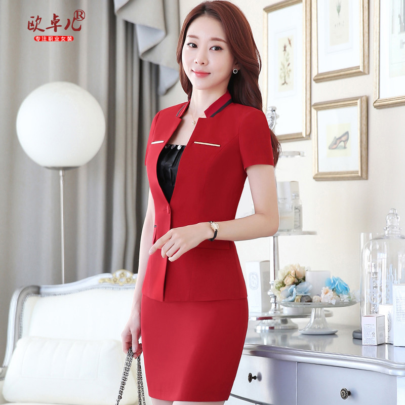 Short sleeve women career suits summer the hotel front desk three sets of bank overalls dress skirt suit tooling
