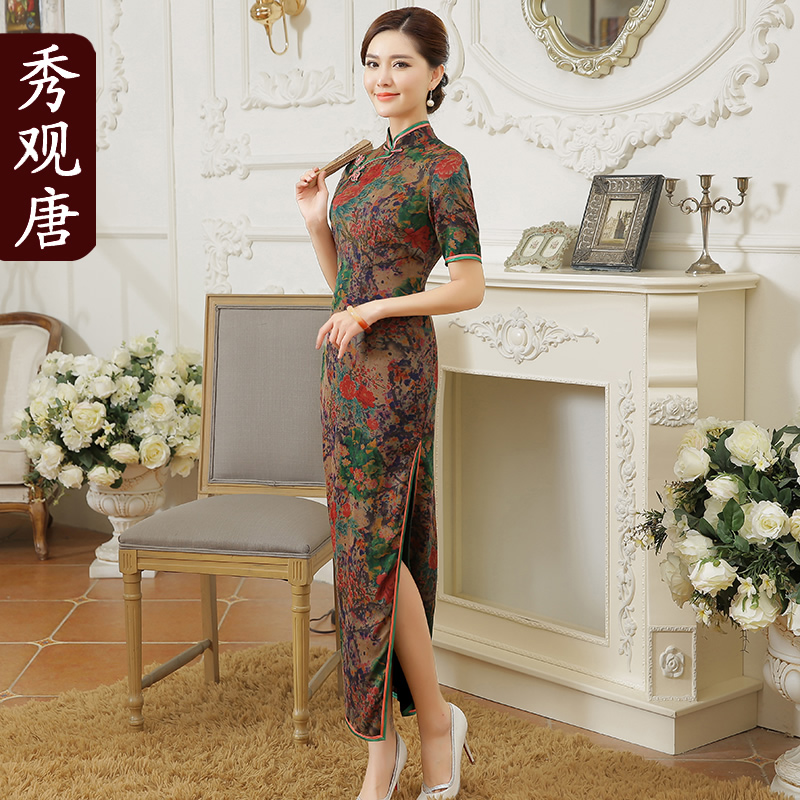 [Show concept tang] chi mei 2016 autumn new silk mulberry silk cheongsam dress in long section of the split type Dress