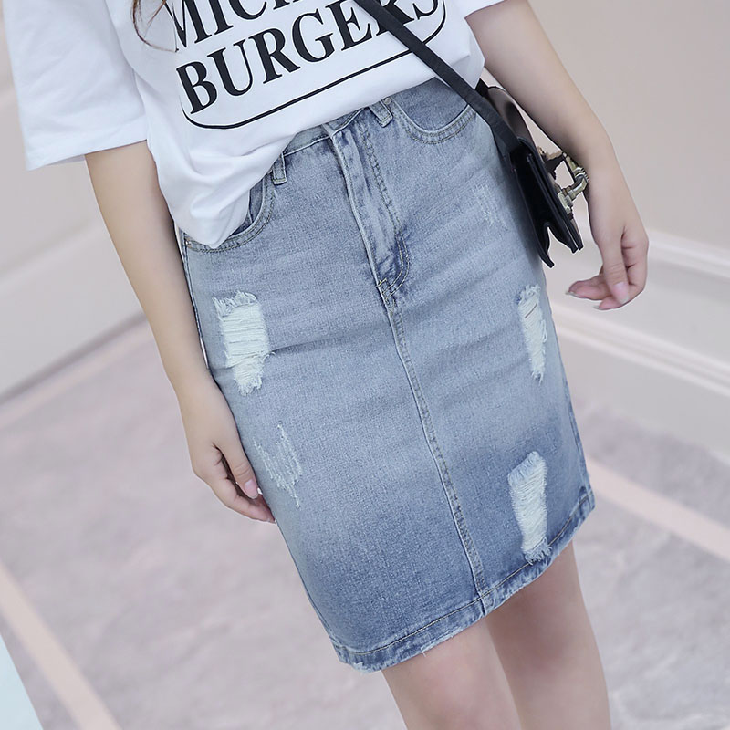 Shu cher new korean institute of wind simple solid color in spring and summer denim skirt package hip skirt skirts korean fan