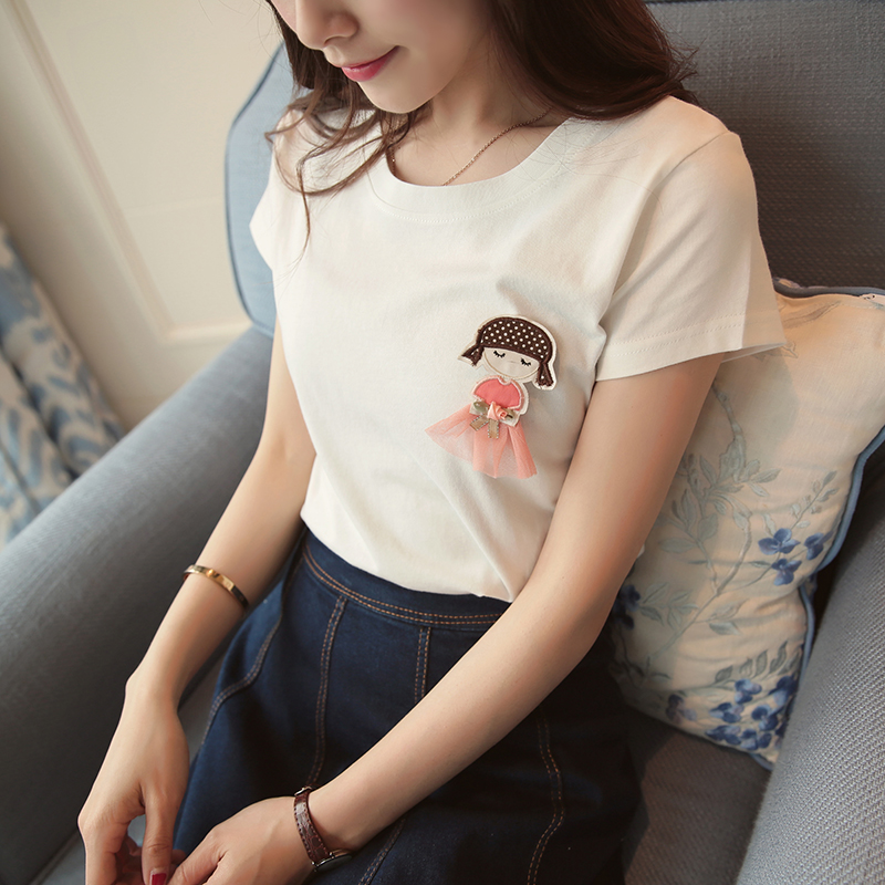 Shu man figure 2016 autumn new three-dimensional decorative cute cartoon images of girls wild round neck short sleeve t-shirts