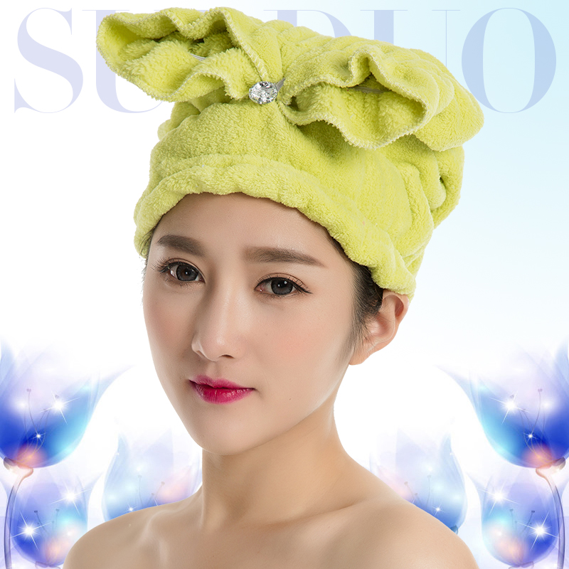 Shulan duo dry hair cap shower cap increased thickening super absorbent towel dry hair cute printing and quick rub hair long hair