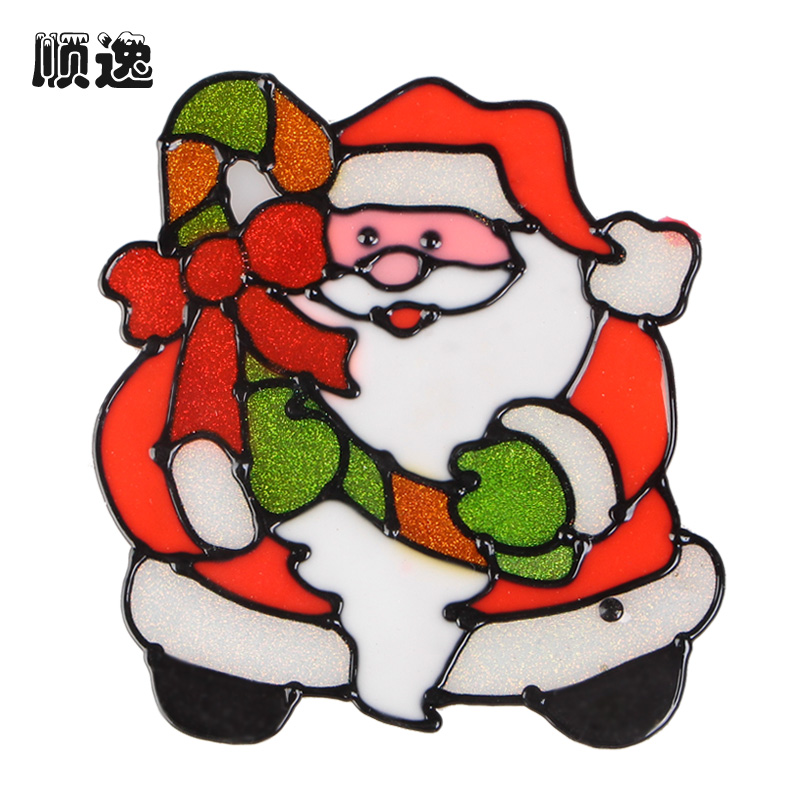 Shun yat christmas festival performances decorative glass decorative glass window stickers affixed santa claus snowman