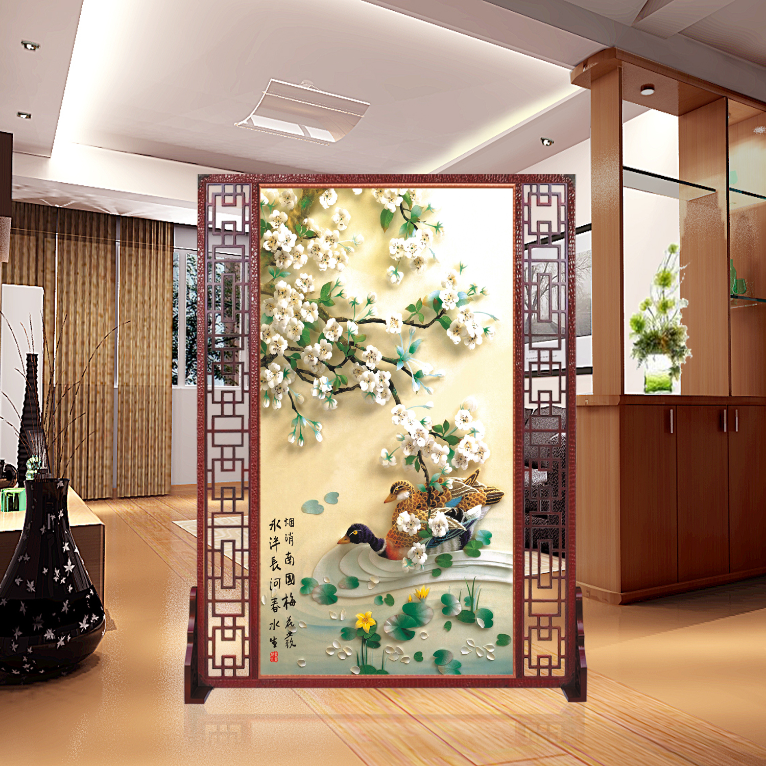 Si yi xuan custom chinese screen porch off the living room decorative landscape hotel office fashion hollow seat screen