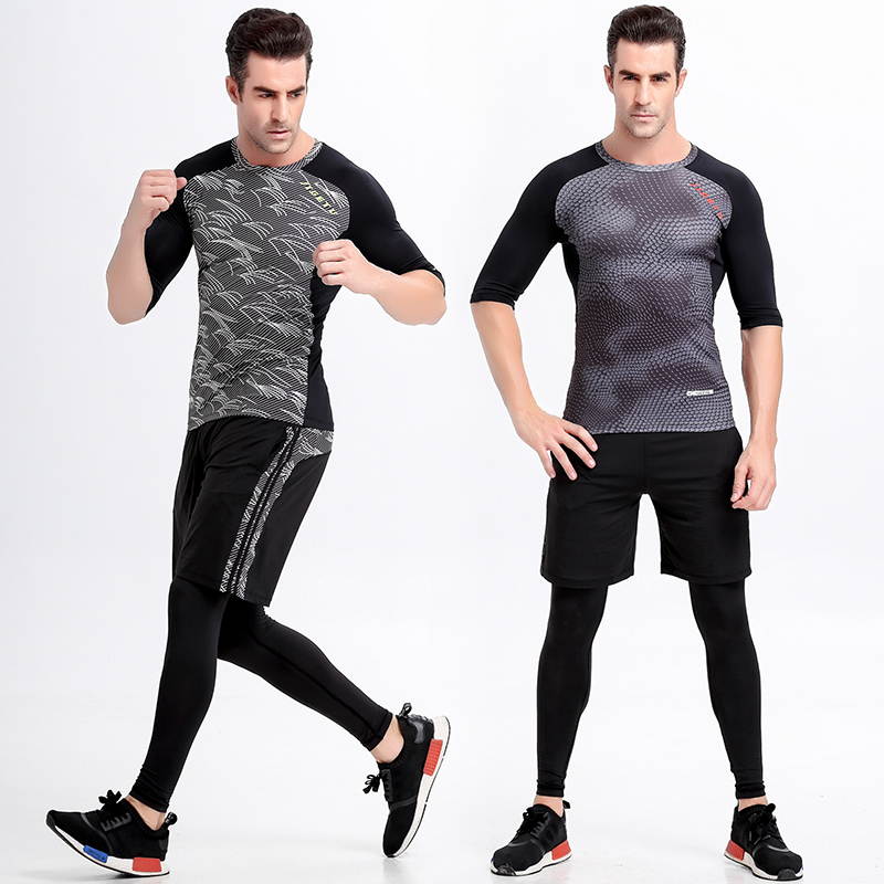 Sige figure aerobics workout clothes suit male autumn and winter sleeve wicking men sport tight gym yoga clothes summer