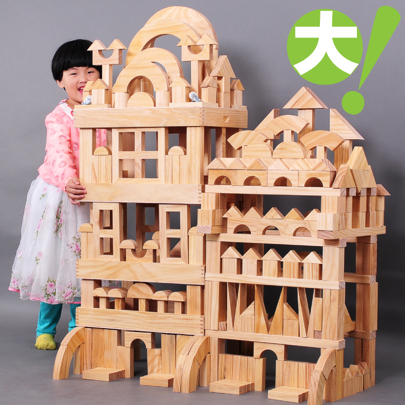 Significantly large blocks kindergarten early learning center construction zone superlarge made of solid wood blocks assembling toys for children