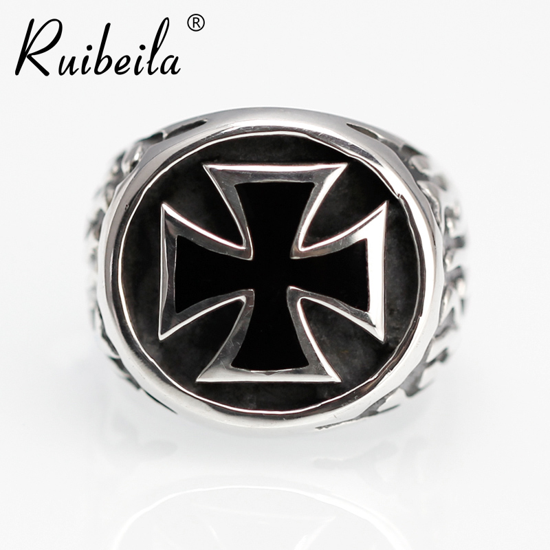 Silver and black ruibeila925 personalized atmosphere retro thai silver men's silver cross ring ring tide