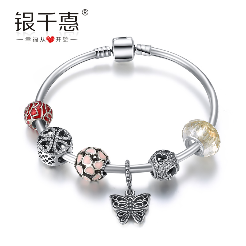 Silver chieko 925 silver jewelry personalized diy wonderful beads beaded bracelet female jewelry accessories valentines day gifts