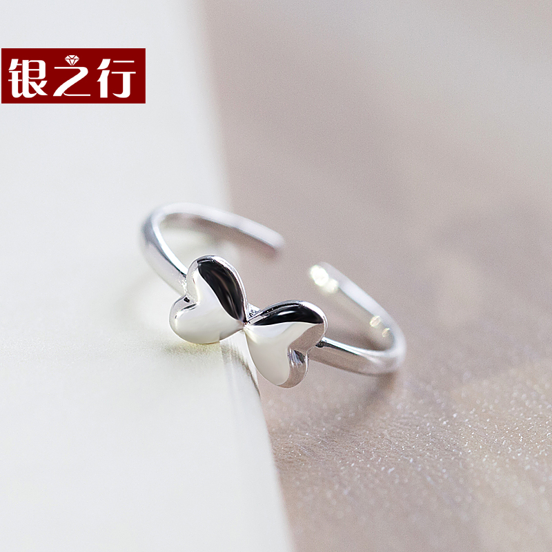 Silver line s925 sterling silver rings female soulmate opening sterling silver tail ring korean version of the simple small fresh