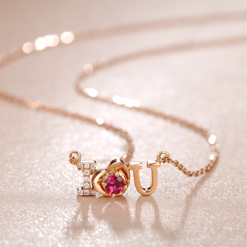 Similar love s925 silver necklace of natural garnet crystal pendant necklace female clavicle chain