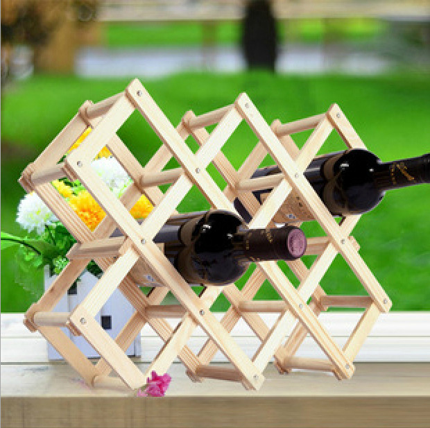 Simple and modern pine wood wine bottle rack creative folding wood wine rack wine rack wine ornaments