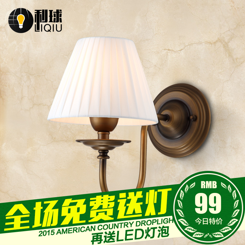 Simple european single head wall lamp bedroom bedside wall lamp wall lamp american country pastoral vintage wrought iron entrance hallway lighting