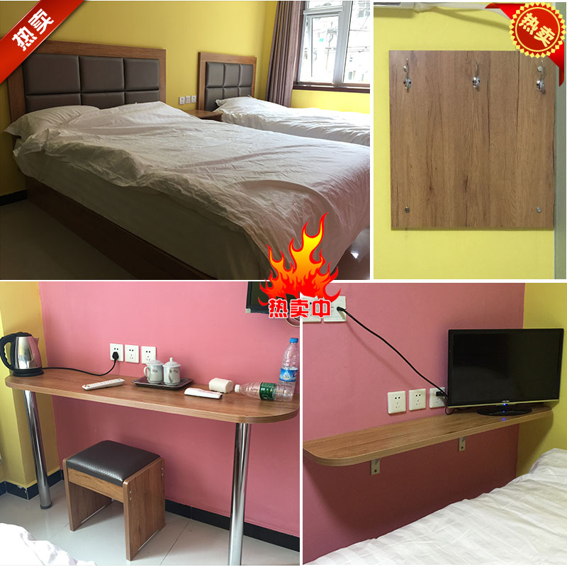 Simple hotel staff dormitory rooms fully furnished hotel bed room roolls bedside computer desk computer desk plate hanging clothes
