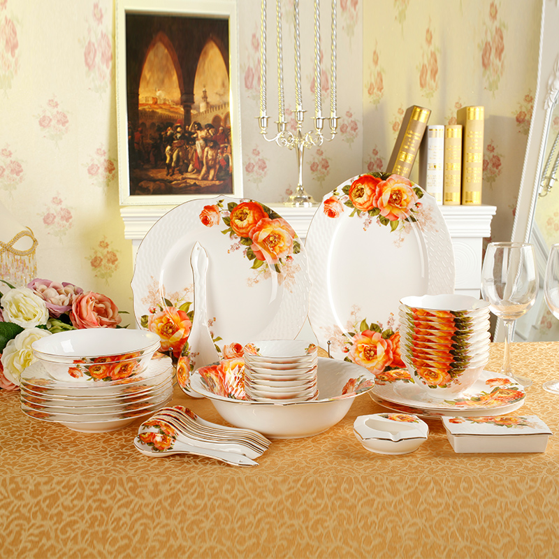 Simple household cutlery dishes suit suit continental porcelain tableware ceramic tableware bone china crockery cutlery set