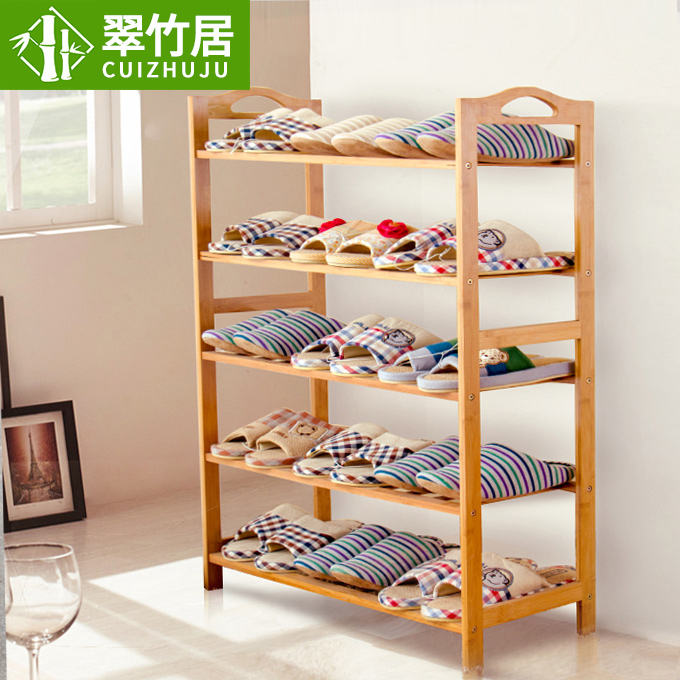 Simple shoe shoe multilayered wood dust shoe shoe small bamboo shoe rack shelf storage rack mounted rack specials creative minimalist