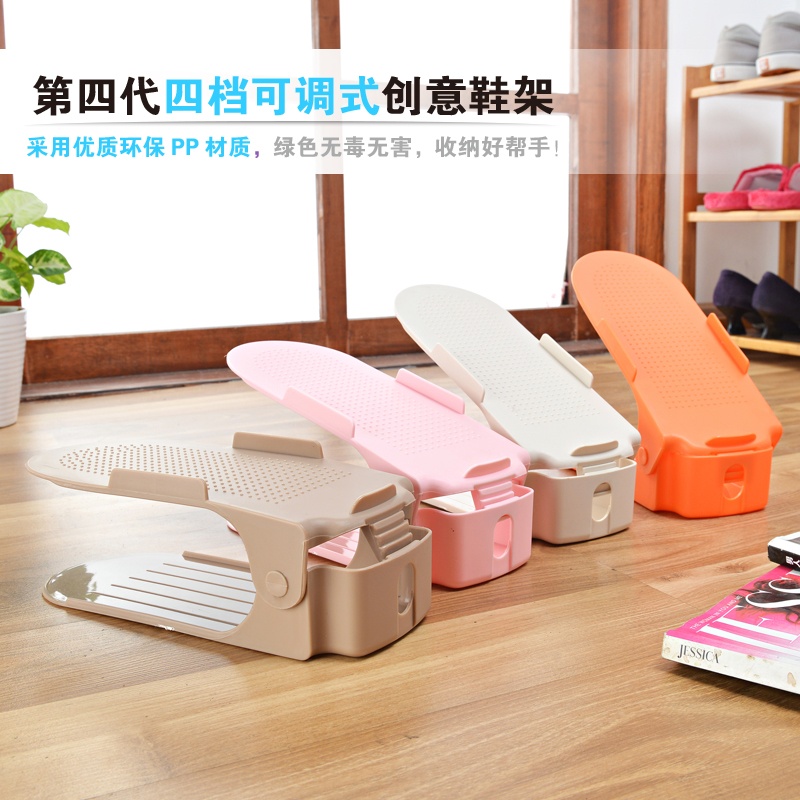 Simple thick adjustable korean double dimensional creative fashion shoe storage plastic shoe rack