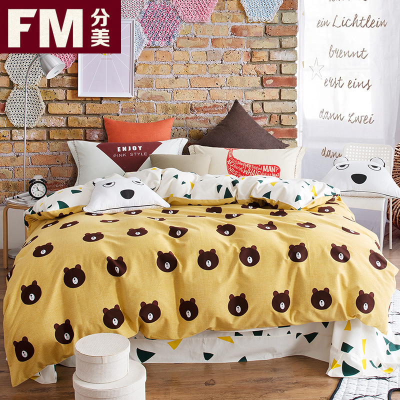 Simple warm brushed cotton cartoon family of four cotton textile articles on 1.8 double bed quilt bed single 1.5