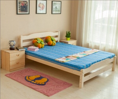 Simple wood bed double bed 1.8 pine bed 1.5 bed 1.2 beds with bed trailer bed solid wood furniture