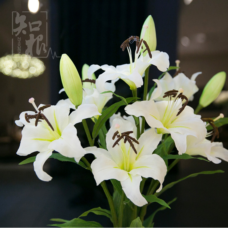 Simulation jewelry lily flower artificial flowers artificial flowers decorative flowers placed in the living room floor bedroom flower flower feel
