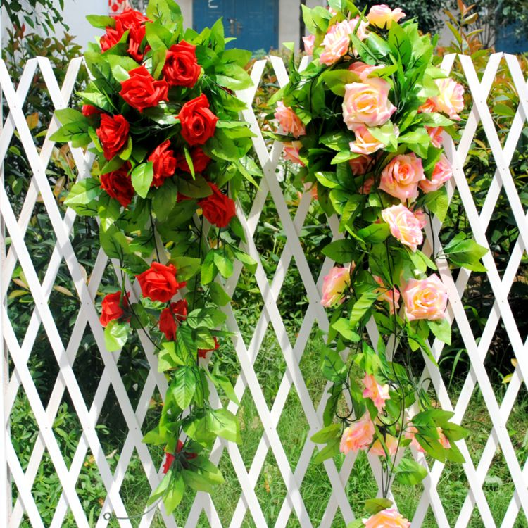 Simulation rose vine artificial flowers artificial flowers silk flower vine rattan air conditioning ducts decorative plastic flowers roses pole shipping