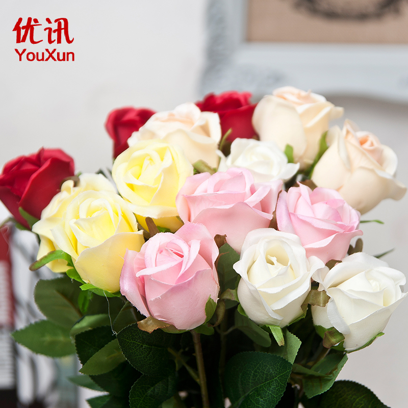 Simulation single branch of roses home decoration artificial flowers silk flower placed floral silk flower floral living room