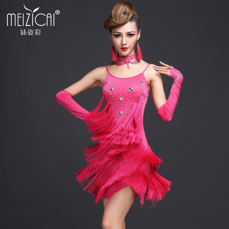 Sister colorful latin skirts latin dance costume clothes and dance performance clothing latin dance costume adult female latin dance fringed skirt hot drilling