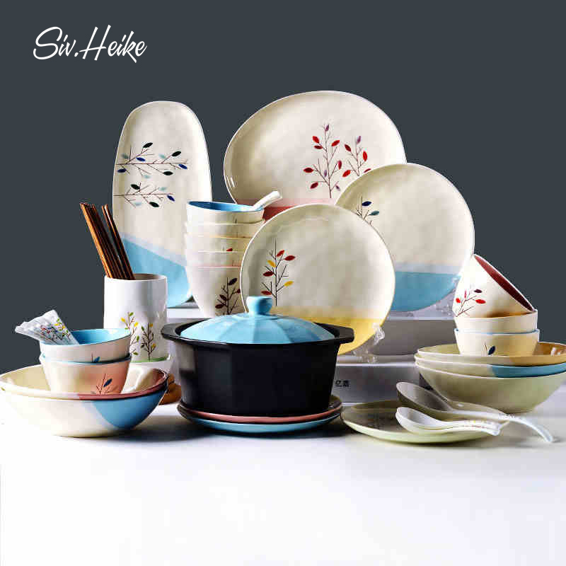Siv creative home painted ceramic japanese korean household ceramic tableware suit upscale dishes dishes dishes