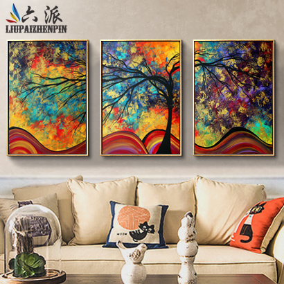 Six to send chinese modern minimalist living room dining room sofa backdrop decorative painting framed triple bedroom mural paintings