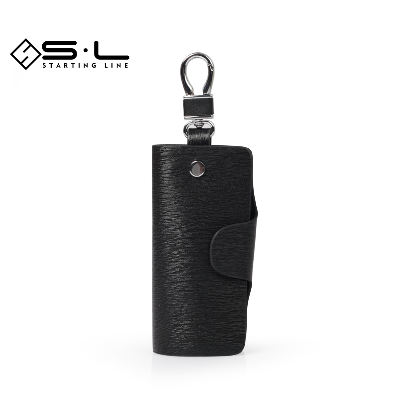 Sl men's leather wallets simple and casual mini car keys hanging buckle waist hanging wallets