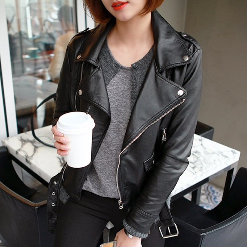 Slim leather jacket women pu leather jacket casual jacket motorcycle clothing tide 2016 korean version of the spring and autumn leather leather women short paragraph