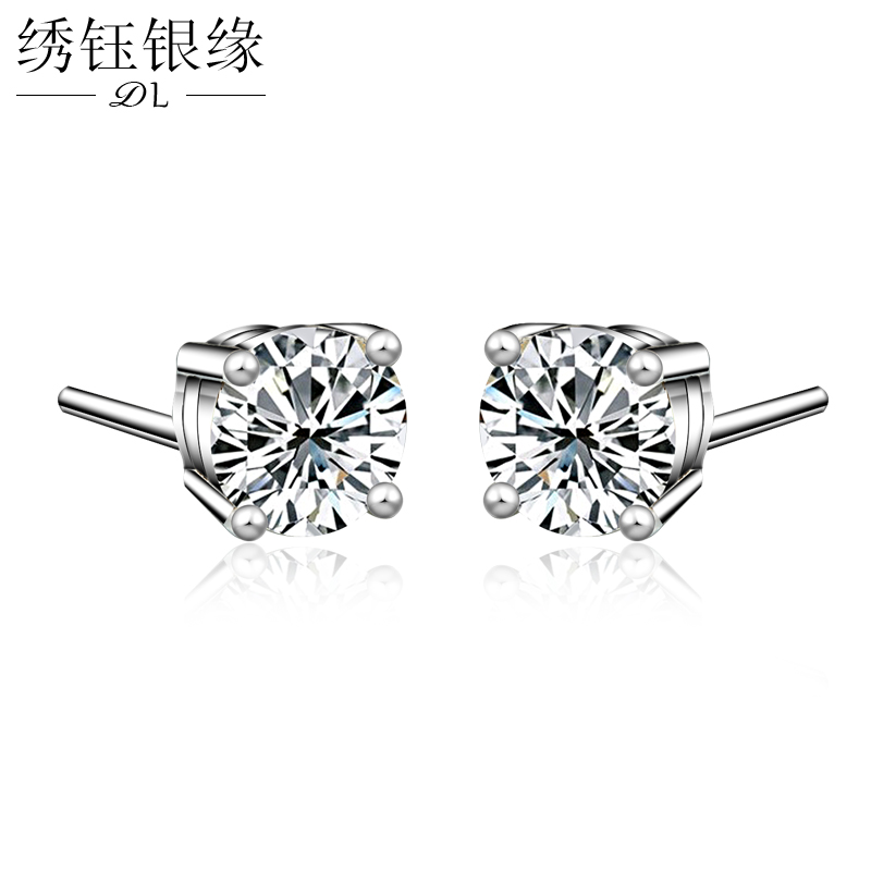 Small 925 silver plated earrings female minimalist mini fragrant wind dongguk door sexy temperament influx of people moving moment
