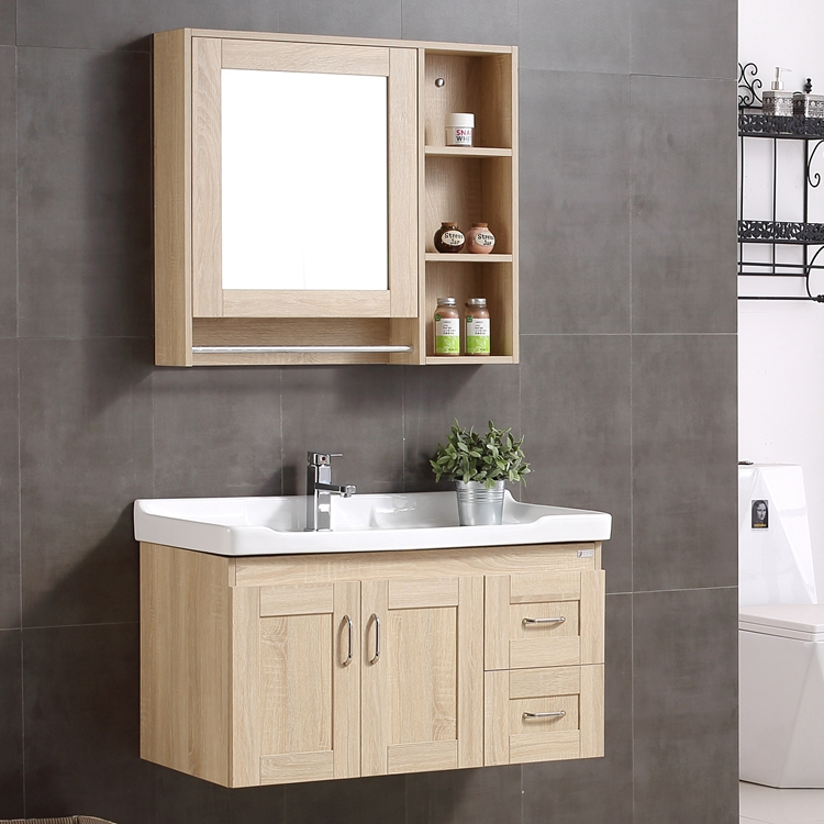Small apartment bathroom cabinet combination of solid wood bathroom mirror cabinet wall cabinet integrated ceramic basin cabinet modern minimalist bathroom cabinet