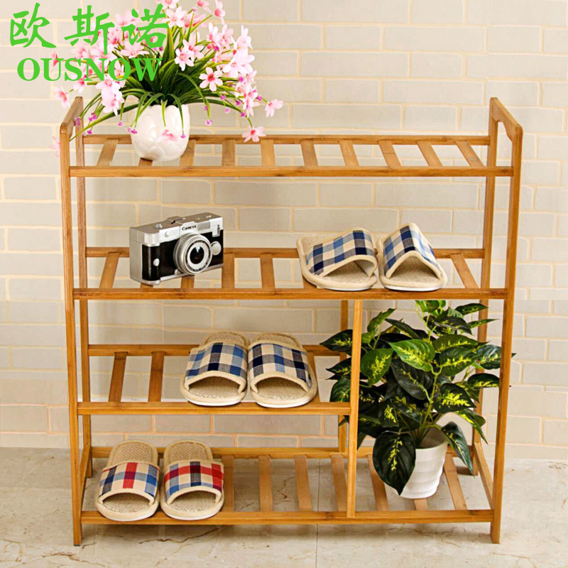 Small bamboo wood shoe rack shoe rack dust simple multilayer shoe shoe rack shoe storage rack cheap deals