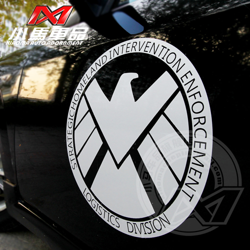 Small carriage goods reflective car stickers s.h.i.e.l.d. avengers logo door stickers cool g183