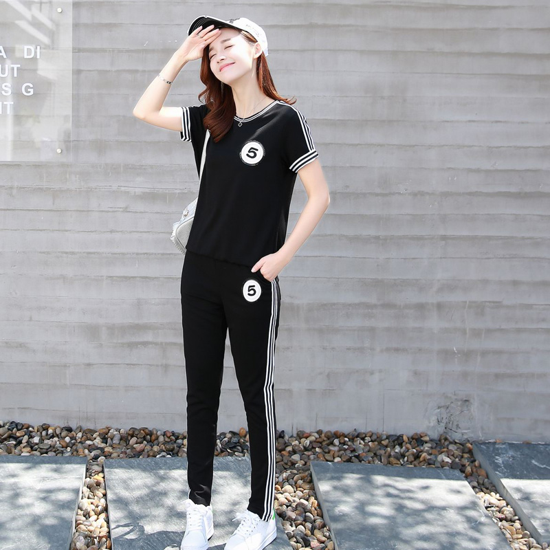 Small children casual sports suit short summer paragraph women's early summer paragraph summer summer dress slim korean version of the suit