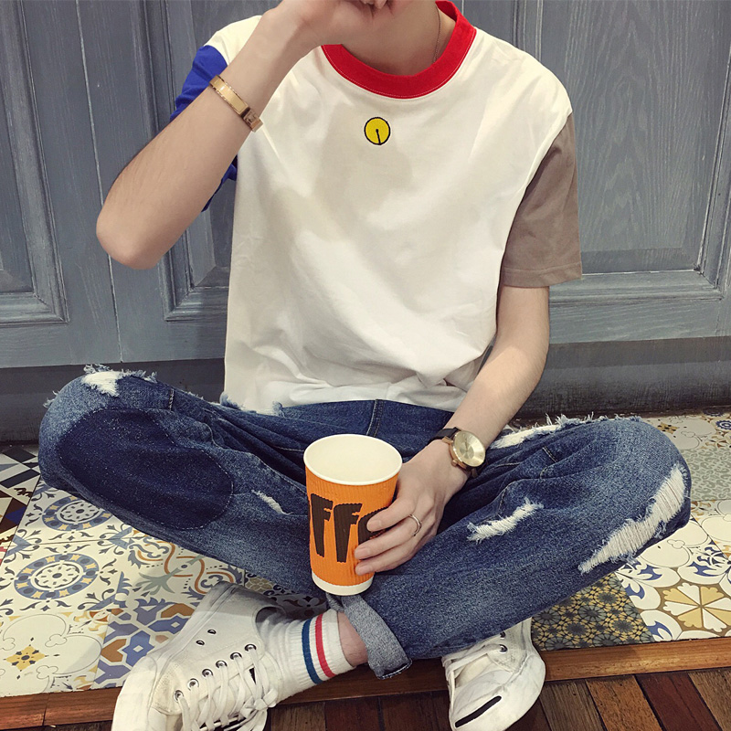 Small fresh men's t-shirt lin curved tide brand men short sleeve lovers korean slim compassionate japanese student t-shirt tide