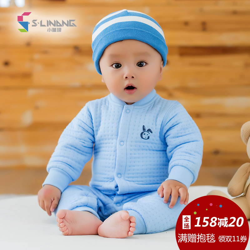 [Small gem quality experience] autumn and winter thick thermal underwear baby clothes newborn baby siamese open file