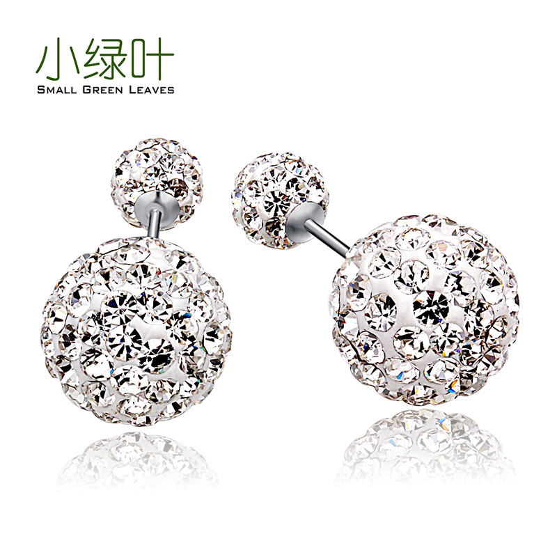 Small green leaves s925 silver earrings korean stars sided front and rear pendant earrings female fashion style earrings hypoallergenic