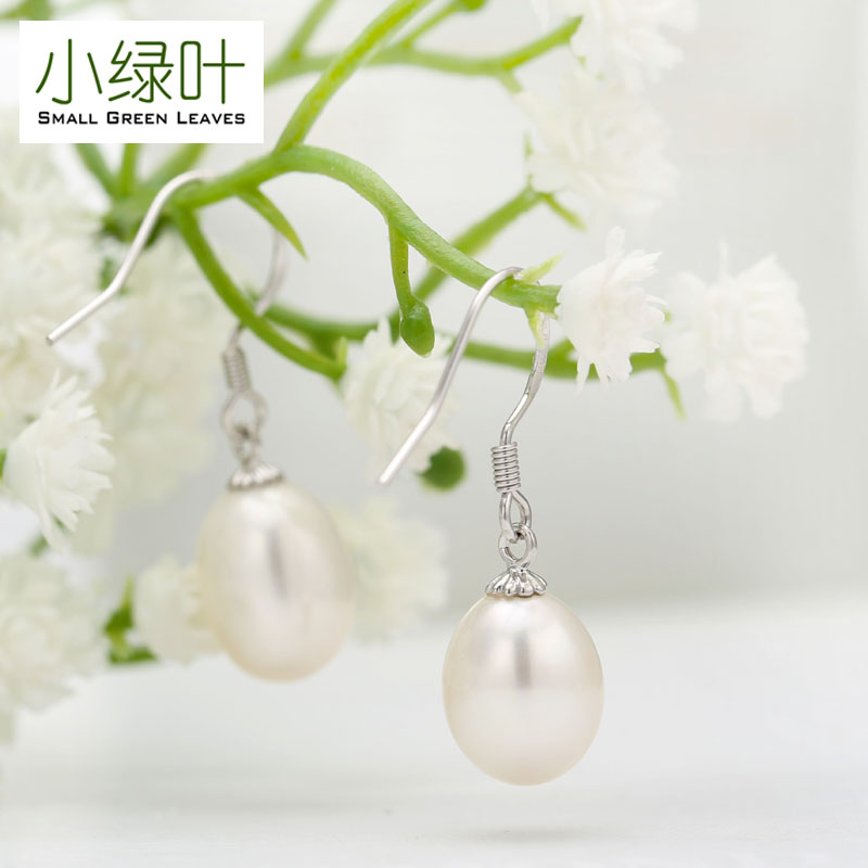 Small green leaves s925 silver freshwater pearl earrings korean fashion earrings hypoallergenic earrings long section