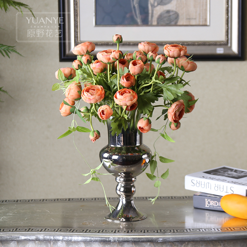 Small tea rose silk flower decorative flowers placed in the living room den decorations silver plated vase floral suit silk flower artificial flowers