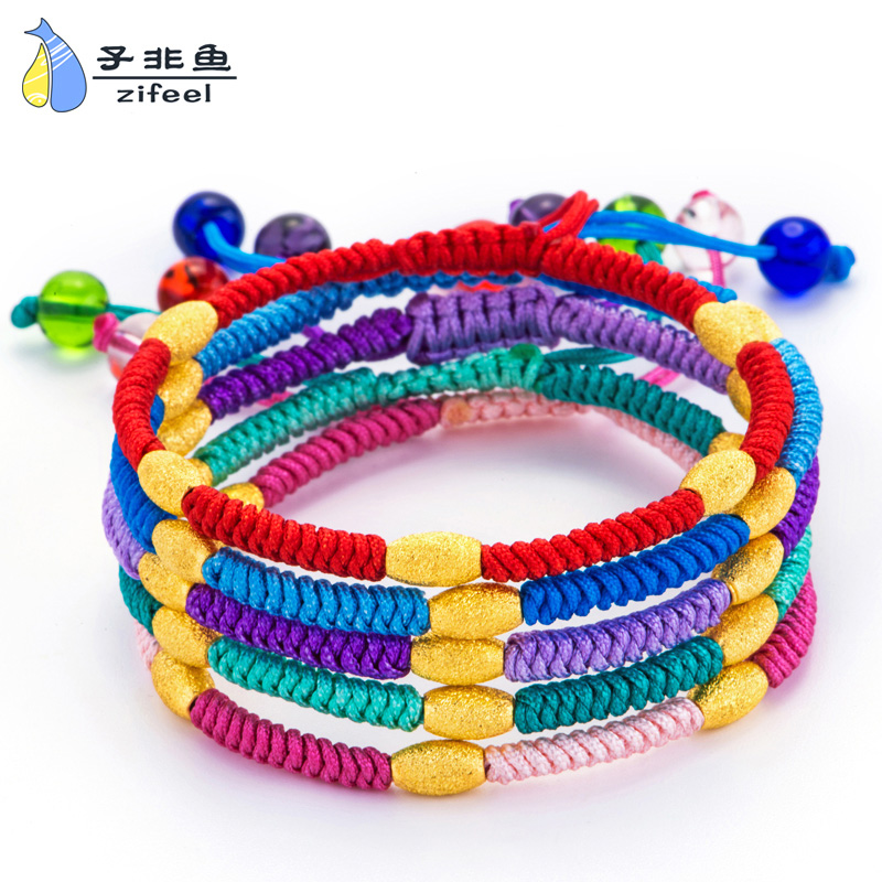 Smart fish足ématte transfer beads gold passepartout red string bracelet natal jewelry hand string of male and female models
