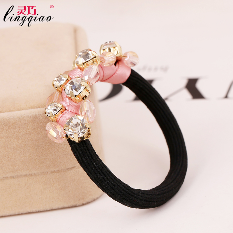 Smart' influx of women fashion hair accessories crystal beaded hair ring tousheng headdress flower head tie hair ring hair rope korean fashion fabric 8009