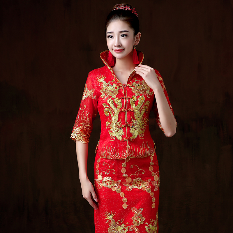 Smiling bride wedding cheongsam dress wedding dress women 2016 new chinese red bride toast clothing long section of the sleeve